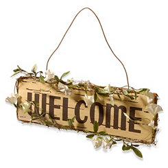 Rustic Floral Hanging Welcome Wall Plaque