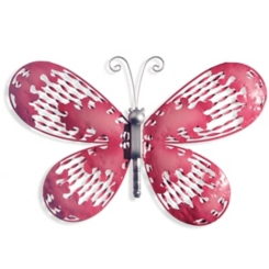 Pink Butterfly Metal Wall Plaque