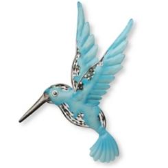 Blue Hummingbird Metal Wall Plaque