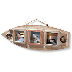 Nautical Wood 3-Opening Collage Frame, 4x4