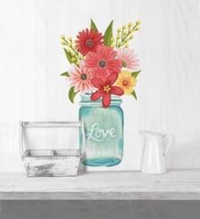 Love Floral Mason Jar Wall Decal