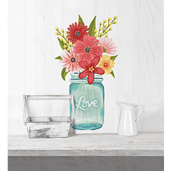 Love Floral Mason Jar Wall Decal