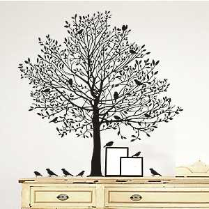 Black Tree with Birds Wall Decal