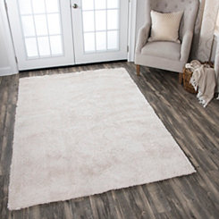 Carey Cream Polyester Shag Area Rug, 7x10
