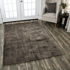 Carey Brown Polyester Shag Area Rug, 5x7