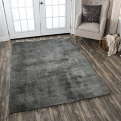 Carey Gray Polyester Shag Area Rug, 5x7