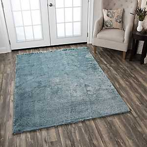 Carey Blue Polyester Shag Area Rug, 5x7
