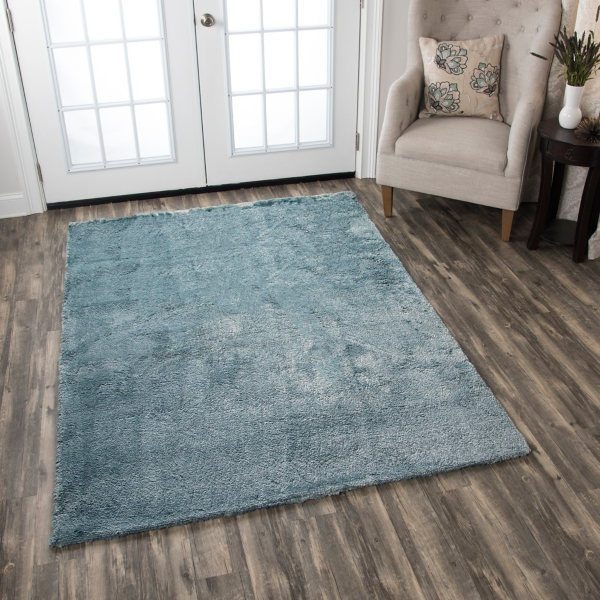 carey blue polyester shag area rug 5x7