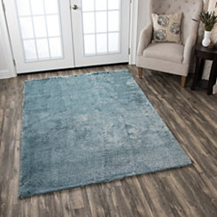 Carey Blue Polyester Shag Area Rug, 7x10