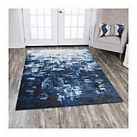 Edward Blue Abstract Area Rug, 8x10