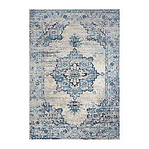 Edward Blue Medallion Area Rug, 5x7