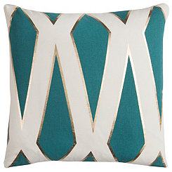 Teal Metallic Geometric Pillow