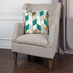 Teal and Tan Metallic Herringbone Pillow