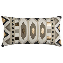 Neutral and Gold Geometric Accent Pillow
