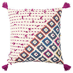 Blue Boho Geometric Pillow