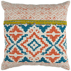 Turquoise and Orange Boho Geometric Pillow