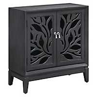 Ashley Gray Cut Panel 2-Door Cabinet