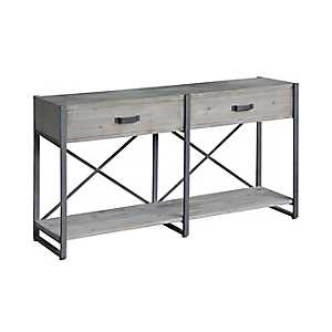 2-Drawer Rustic Wood and Metal Console Table