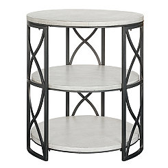 White and Gray Tiered Accent Table