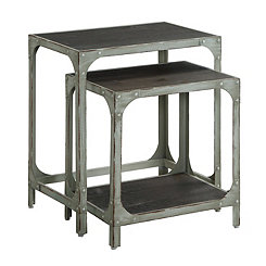 Rustic Metal and Wood Nesting Tables, Set of 2