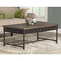 Sierra Distressed Wood and Metal Coffee Table