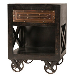 Dakota Rubbed Black Industrial Accent Table