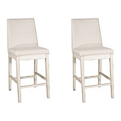 Geneva Distressed White Counter Stools, Set of 2