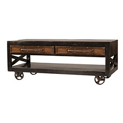 Dakota Rubbed Black Industrial Coffee Table