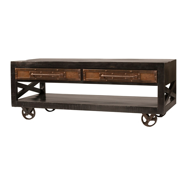 Dakota Rubbed Black Industrial Coffee Table