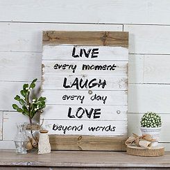 Live Laugh Love White Wash Wood Plank Wall Plaque