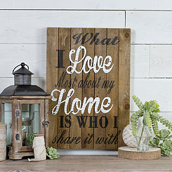 What I Love Wood Plank Wall Plaque