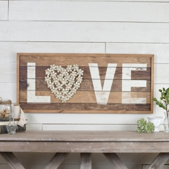 Love Floral Heart Framed Wood Plank Wall Plaque