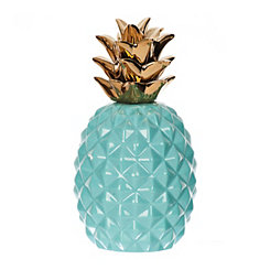 Aqua and Gold Pineapple Figurine