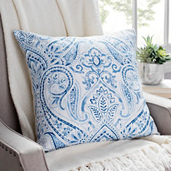 Blue Floral Printed Linen Pillow