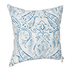 Blue Linen Paisley Pillow