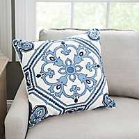 Navy Embroidered Medallion Tile Pillow