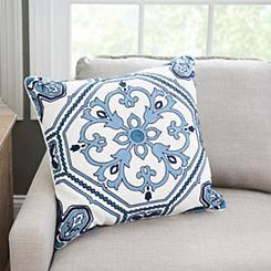 Navy Embroidered Medallion Tile Pillow