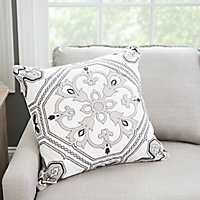 Gray Embroidered Medallion Tile Pillow