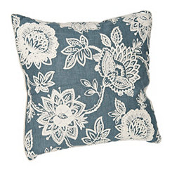 Blue Floral Chainstitch Pillow