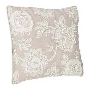 Gray Floral Chainstitch Pillow