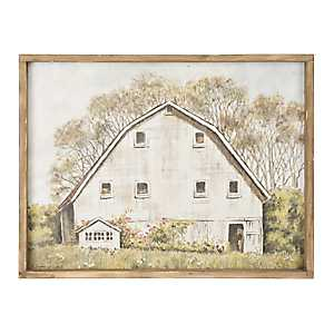 White Barn Framed Canvas Art Print
