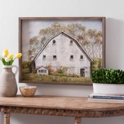White Barn Framed Canvas Art Print