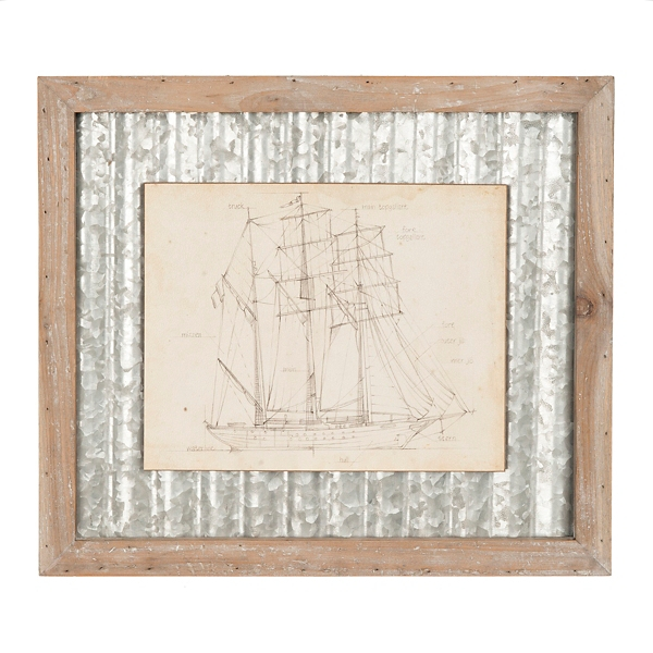 Galvanized Sailboat Framed Art Print
