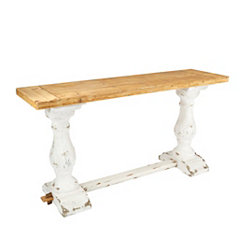 Whitewashed Hand-Carved Console Table