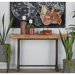 Black Iron and Natural Wood Console Table