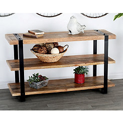 Rustic Iron Banded Console Table