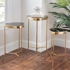 Black and Brass Triangle Accent Tables, Set of 3
