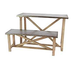 Gray Metal Top Wood Table and Bench, Set of 2