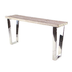 Stainless Steel Wood Top Console Table