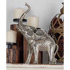 Distressed Silver Elephant Statue